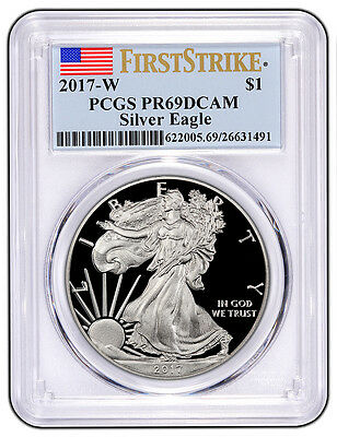 2017-W PCGS PR69 PROOF Silver Eagle First Strike FLAG Label