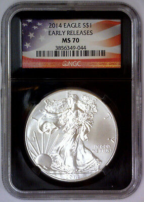 2014 American Silver Eagle ASE $1 ~ American Flag Label Retro NGC MS70 MS 70 ER