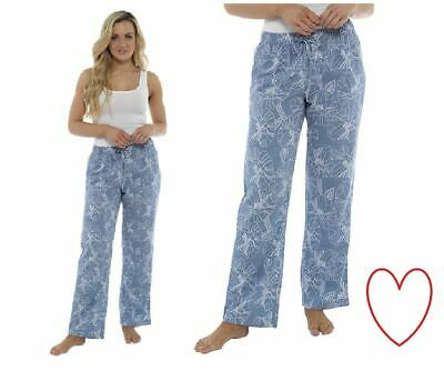 Ladies Girls Blue Linen Trousers Pants Holiday Floral Casual