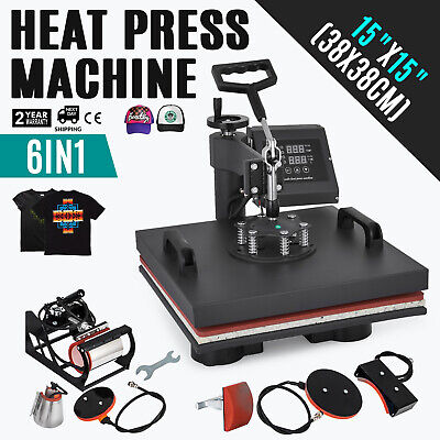 "15""x15""T-Shirt Heat Press Transfer 6IN1 Combo Clamshell Machine Sublimation"