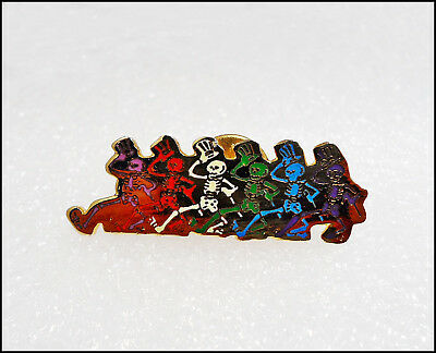 Grateful Dead Vintage 80's Pin Badge Dancing Skelotons