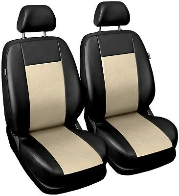 Front Cream Leatherette seat covers fit Fiat Palio 1+1 black/beige