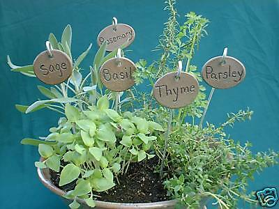 Herb &/or Vegetable Plant Garden Markers on Stakes Tags- set of 4 YOUR CHOICE