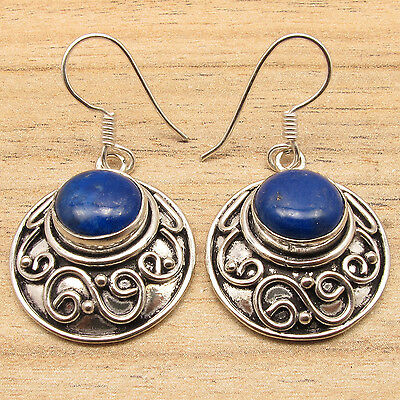 925 Silver Plated Over Solid Copper ! Navy Blue LAPIS LAZULI ART Dangle Earrings
