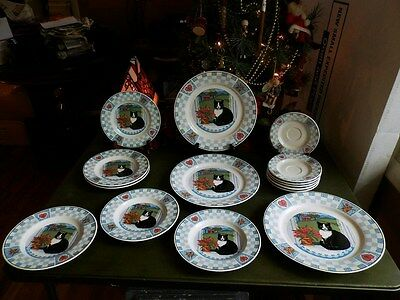 15 Used Tienshan Pattern Black & White Cat Dinner Bread Plates Saucers