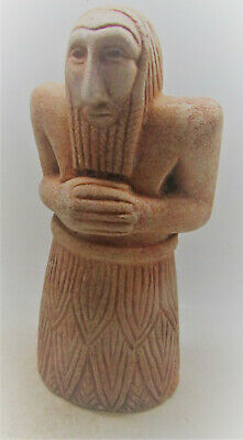 Very Rare Ancient Near Eastern Stone Carved Worshipper Statuette 2000Bce