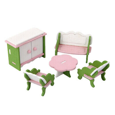 Handcrafted Dollhouse Miniature Furniture Wooden Toys Kids Living Room Set