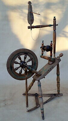 ANTIQUE UNIQUE WORKING SPINNING WHEEL with date: 1899