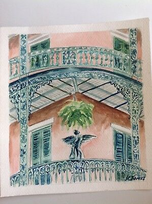 ANGEL ON THE BALCONY Watercolor Painting New Orleans French Quarter Louisiana