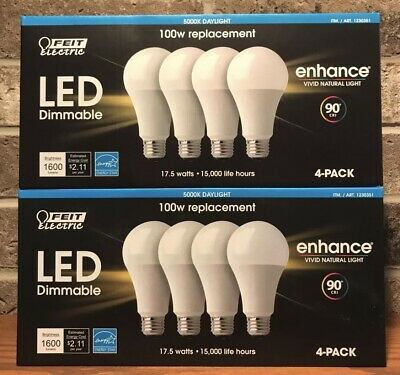 8 X FEIT Electric LED Bulbs 5000K Cool White Daylight Dimmable 17 5W = 100W  E26