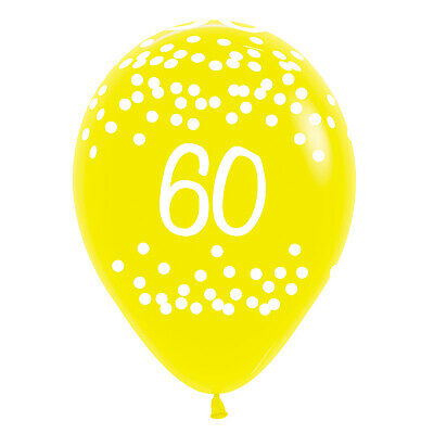 Sempertex 25: 60th Birthday Polka Dots Tropical Assorted Colours Latex Balloon