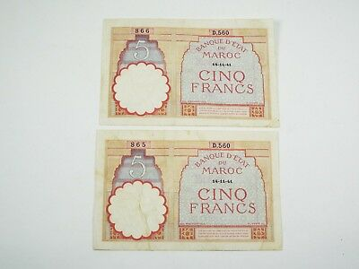 1941 Morocco 5 Francs - 2 Consecutive Bank Note