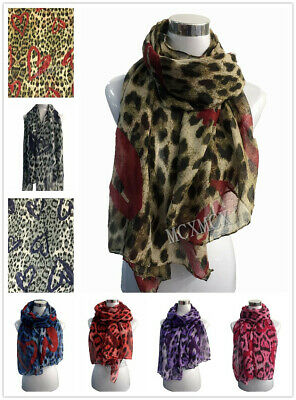 Women Ladies  Inspired Leopard Print Animal Pattern with Heart Scarf Wrap
