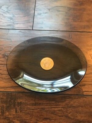 United States Senate Oval Smoked Glass Dish Tray Gold Seal Stamp Vintage
