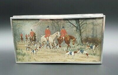 Antique Edwardian Silver Table Box Fox Hunting Scene Under Glass G. Wright 1908