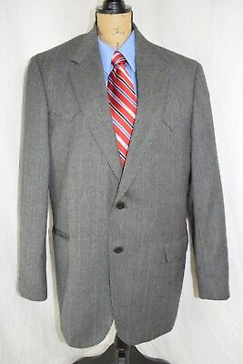 CIRCLE S Sz 44L Dallas Texas Western Wool Gray blazer jacket sport coat RN 25832