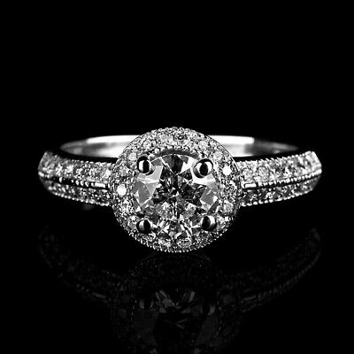 2 Ct Vvs Natural Real Round Accented Diamond 18K White Gold Wedding Bridal Ring