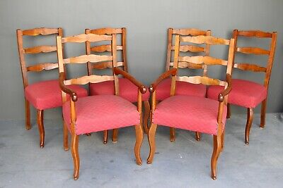 Set 6 antique provincial hand carved dining chairs 2 armchairs large comfy seats