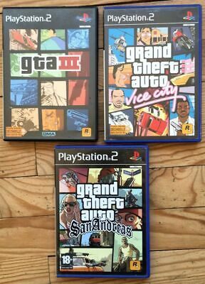Lot 3 Jeux Complets Grand Theft Auto 3 Vice City & San Andreas Ps2 Pal Fra Gta