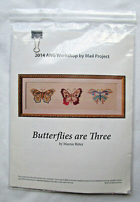 """Marnie Ritter """"Butterflies Are Three"""" Embroidery Kit Silks, Metallics & More"""