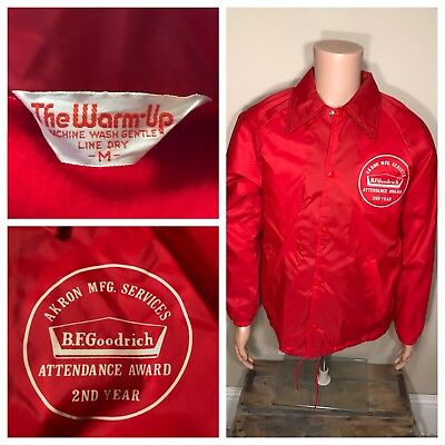 Vintage The Warm-Up jacket Coat Akron OhioB.F. Goodrich tires MFG. services RARE
