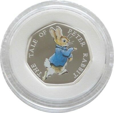 2017 Royal Mint Beatrix Peter Rabbit 50p Fifty Pence Silver Proof Coin Box Coa