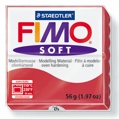 FIMO Soft Polymer Modelling Clay nr 26 - Cherry Red - Two 56g blocks