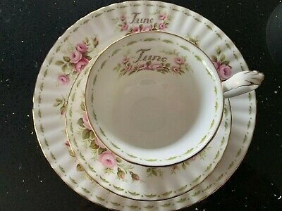 Royal Albert English China Tea Cup + Saucer + Plate June Flower of Month Roses