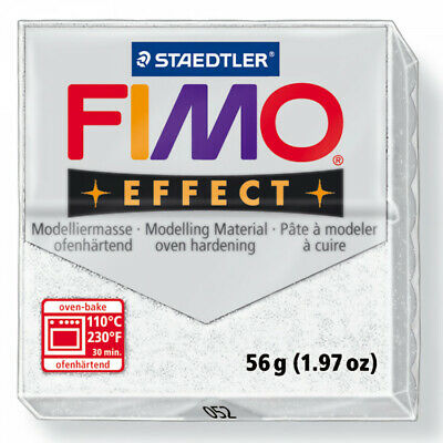 FIMO Soft Polymer Modelling Clay no 052 - Glitter White - Two 56g blocks