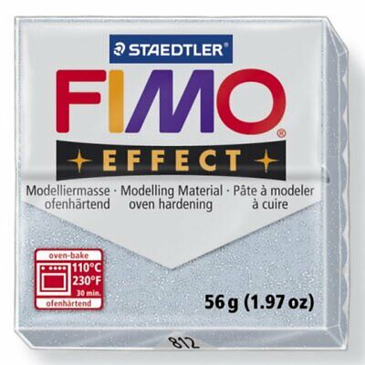 FIMO Soft Polymer Modelling Clay no 812- Glitter Silver - Two 56g blocks
