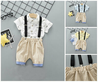 2pcs baby summer outfits tuxedo shirt+rompers short pants boys  birthday clothes