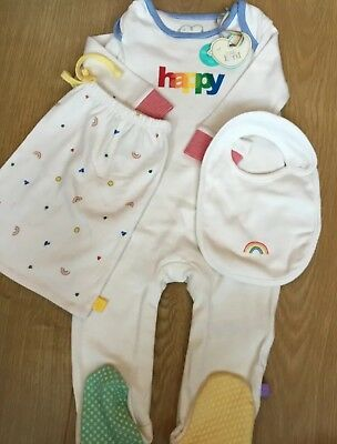Mothercare Little Bird By Jools Oliver HAPPY Baby Grow, Bag & Bib 9-12 Months