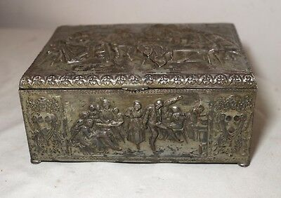 antique ornate silver plate brass Dutch figural dresser cigar humidor vanity box
