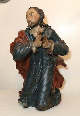 HUGE antique 1600's hand carved polychromed wood religious Jesus saint sculpture