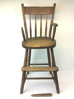Antique Old Decorative Primitive Childrens Childs Highchair Stool Furniture