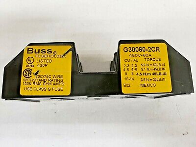 Buss G30060-2CR Fuse Holder 480V-60A Class G Fuses