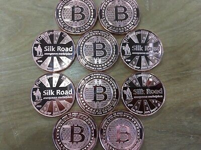 1 Oz Copper Coins Bitcoin *silk Road* Anonymous Mint Copper Lot Of 10