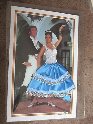 Spanish Embroidered postcard - Flamenco dancer Traditional costumes - Blue