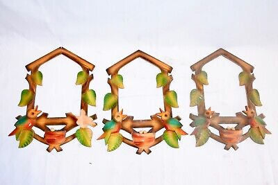 Lot 3 Vintage Wood Leaves Cuckoo Clock front Trim parts Repair project as is #2