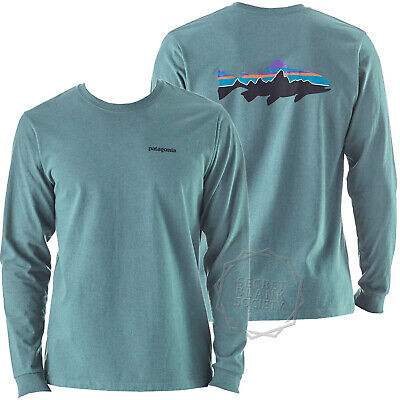 13a8057d Patagonia | Mens Fitz Roy Trout Long-Sleeved Responsibili-Tee | Mako Blue
