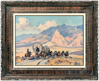 Marjorie Reed Original Oil Painting On Canvas Board Signed Stagecoach Western