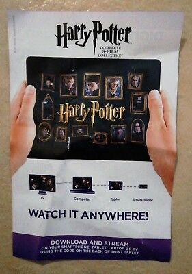 Harry Potter Complete 1-8 Movie Collection - ULTRAVIOLET SD CODE (NO DVD) .