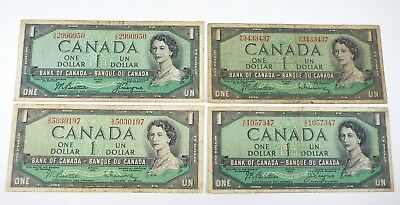 Lot of 4 - 1954 Canada 1 Dollar Banknote