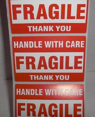 FRAGILE HANDLE WITH CARE Thank You 2x3 RED Sticker 20-30-50-100-500 Labels