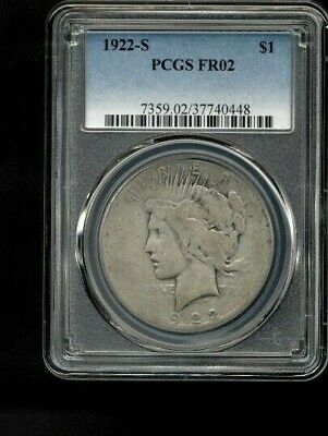 1922-S $1 PCGS Graded FR02 Silver Peace Dollar Circulated Condition #0448