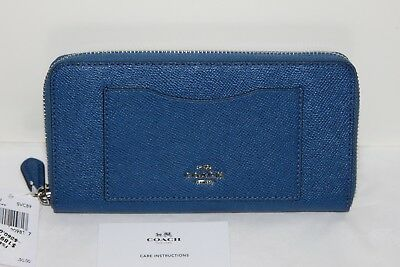 Coach ACCORDION ZIP WALLET IN CROSSGRAIN LEATHER F54007 Lapis NWT