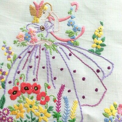Vintage Hand Embroidered  Colourful Pretty Crinoline lady tablecloth Lace edge