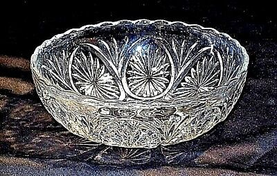 Cut Glass Bowl with Etched Design AA18-11903  Vintage Heavy