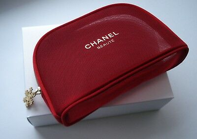 8062ca6b8827 CHANEL RED makeup bag pouch with charm VIP gift from Chanel counter ...