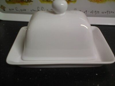 White Porcelain Butter Dish,Used.